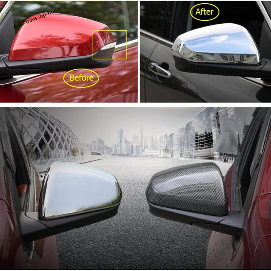 Yimaautotrims Door Rearview Mirror Protection Cap Cover Trim Fit For Chevrolet Equinox 2017 2018 2019 / Chrome Carbon Fiber ABS
