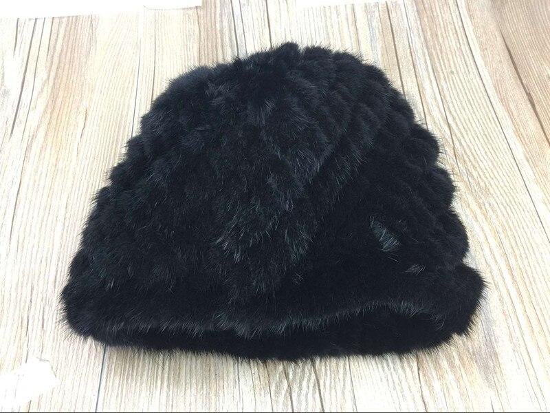 2017 donne di inverno pelliccia di visone reale acrilico lavorato a maglia berretti caldo molle beanie