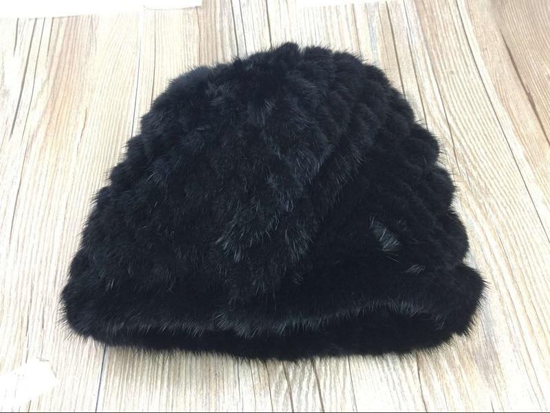2017 winter women mink real fur acrylic knitted beanies soft warm beanie