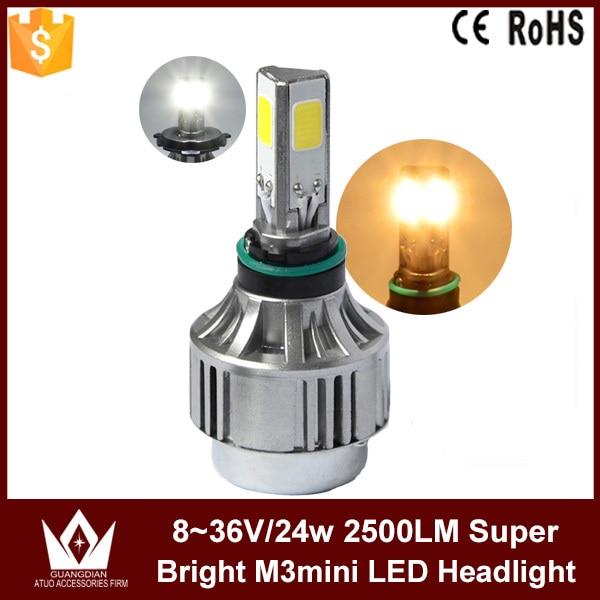 Guang Dian car led light M3 mini 2500 LUMEN 24W 3000K 6000K Motorcycle Led Headlight light lamp Kit Bulbs MOTOR COB bullest