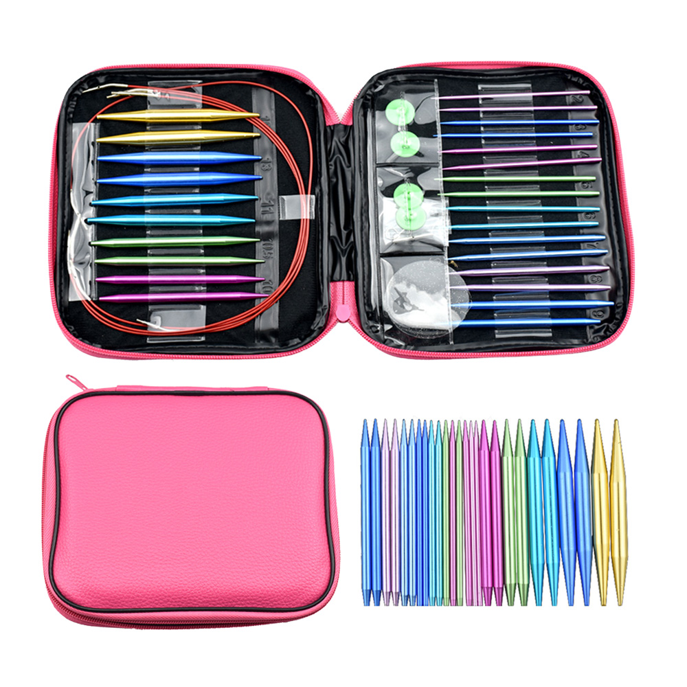 Aluminum Circular Knitting Needles Set With Ergonomic Handles 26 Sizes Interchangeable Knit Needles With Storage Case