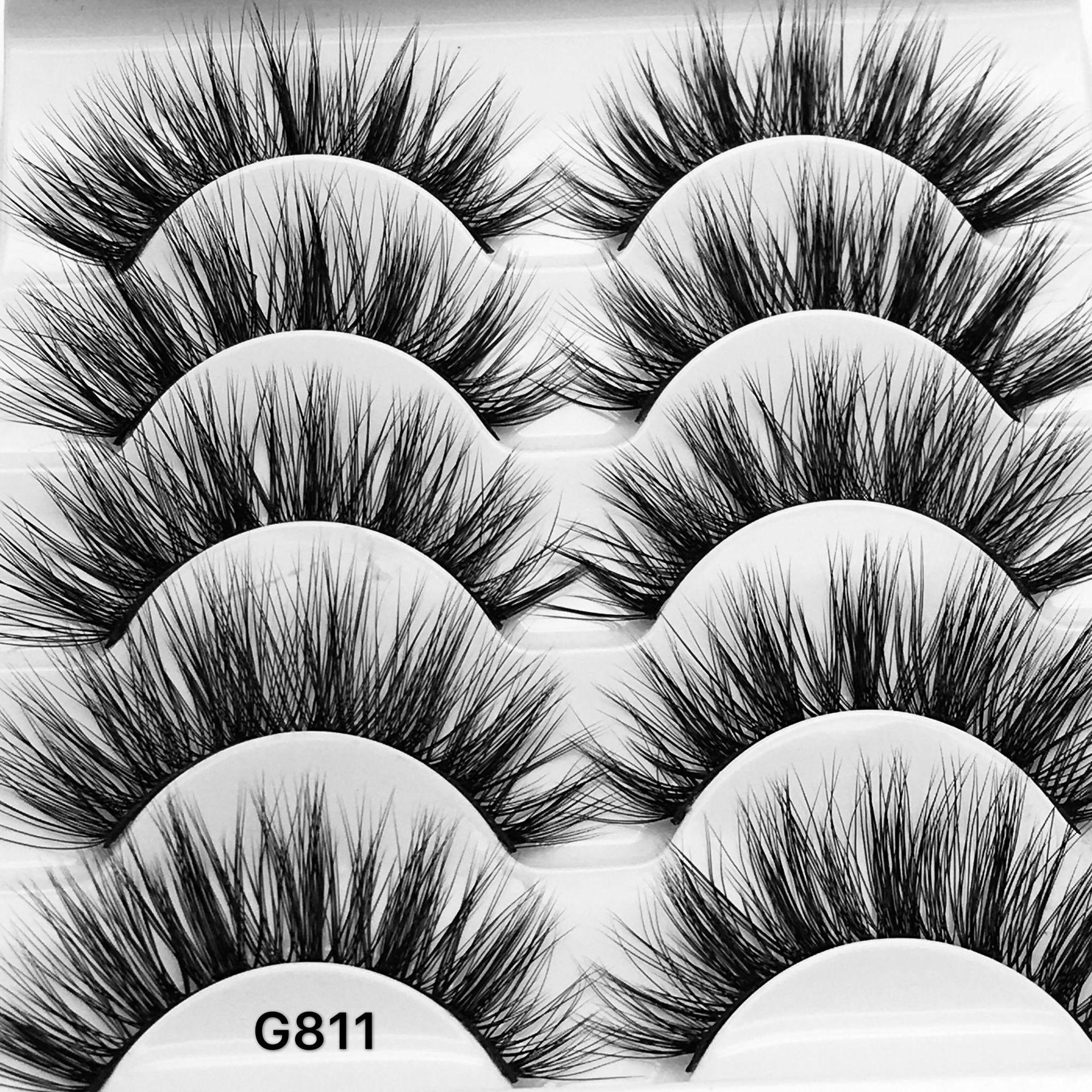 G811 5 Pairs False Eyelashes 3D Mink Lashes Natural Makeup Eyelash Extension Cross Volume Soft Fake Eye Lashes Winged Faux Cils