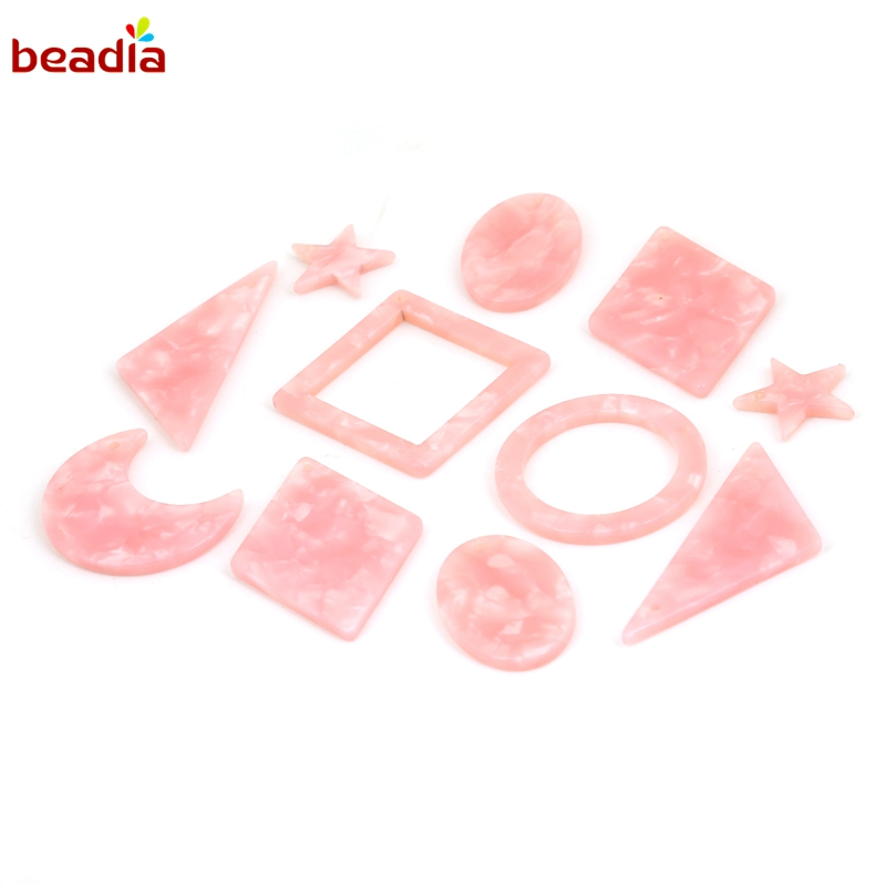 Pink Acrylic Alloy Pendants Charms for Jewelry Making Earring Necklace Jewelry Findings StarOvalMoonRhombus 6 pcsbags