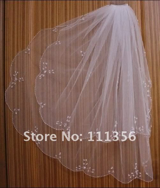White Ivory Elbow Bridal Veils Beaded Edge pearl sequins Bridal Wedding Veil With comb For Bride