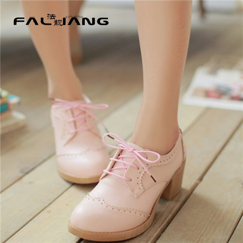 ФОТО Free Shipping England High Quality Woman Round Toe Lace Up Oxfords Female Office Lady Casual Comfort Brogue Shoes Plus Size