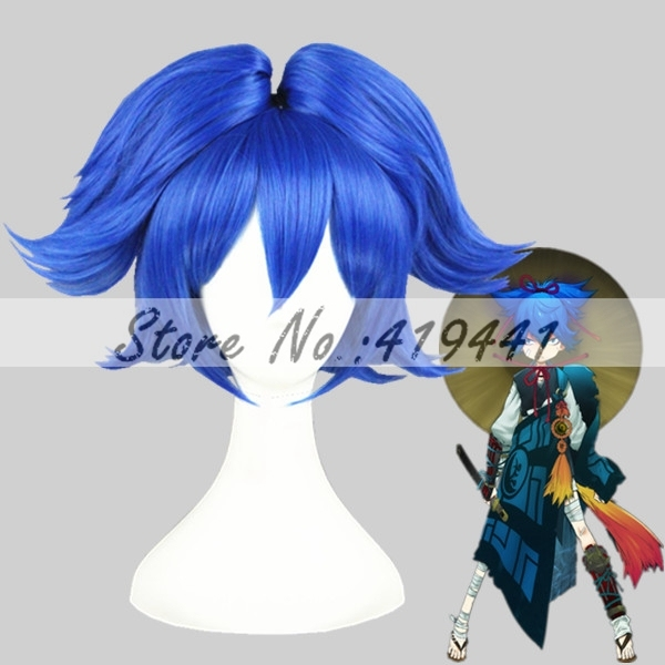 Free Shipping 30cm Short Blue Touken Ranbu Online Sayo Samonji Synthetic Anime Cosplay Ponytails Wig CS-231I