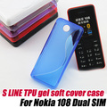 S Line silione TPU Gel Skin Cover Case for nokia 108 108DS,Free Shipping