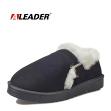 ALEADER Cute Winter Slippers Women Suede Leather House Shoes Warm Indoor Fuzzy Slipper For Ladies Short Moccasins For Girls