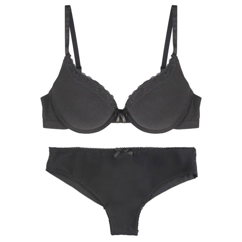 Women's Intimates Solid 3/4 Cup Underwire Woman Underwear Bras Sets Cottton Briefs Soft Fabric Panty Bra Set 32-34-36-38 B-C