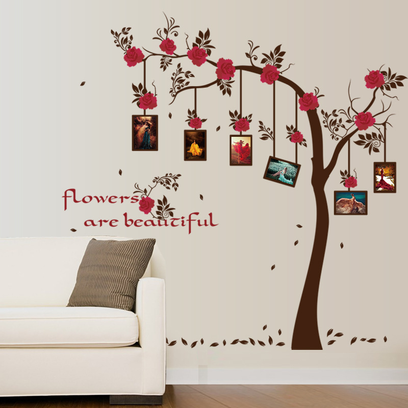 ⑥in Stock Large Photo Frame Tree Wall Stickes Red Flower Wall