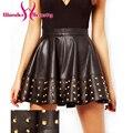 Cuero de LA PU Falda de Las Mujeres Atractivas Faldas Faldas Vinilo Con Remache de Cuero de Imitación de la Moda Negro W7992