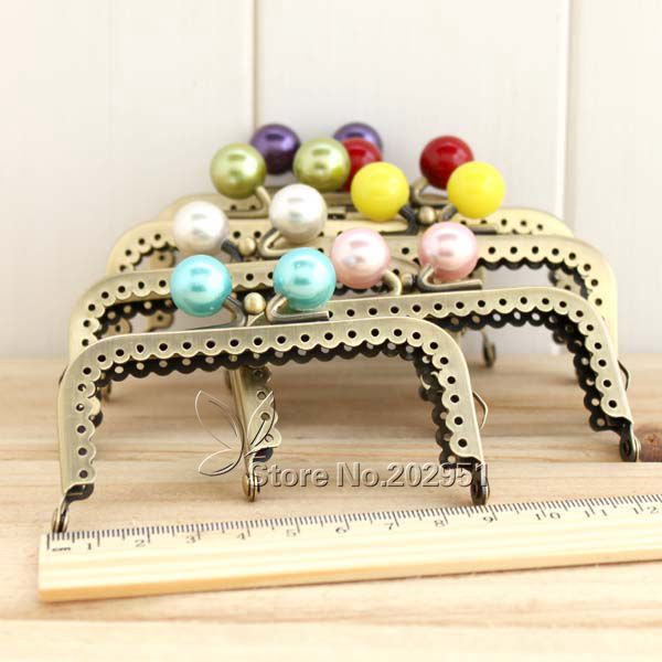 20pcs/lot 8.5cm Small Candy Pearl Bead Metal Purse Frame Square Bright And Clean Antique Bronze Lace Coin Purse Frame Luxuriant In Design Bag Parts & Accessories