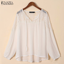 ZANZEA 2017 Ladies Casual Loose Solid Shirts Lace Crochet Sexy V Neck Long Sleeve Floral Blouses Tops Fashion Women Sexy Blusas
