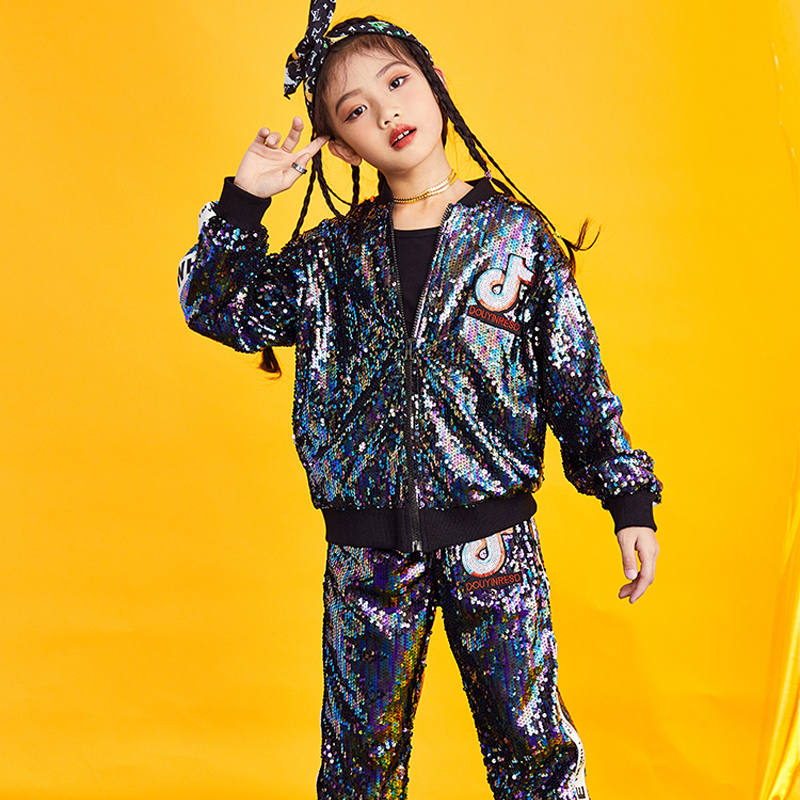 2019 New Style Girl's Jazz Dance Clothes Sequin Design Hip-hop Costume  Practice Stage Costume Sport Suit For Girls BL1025