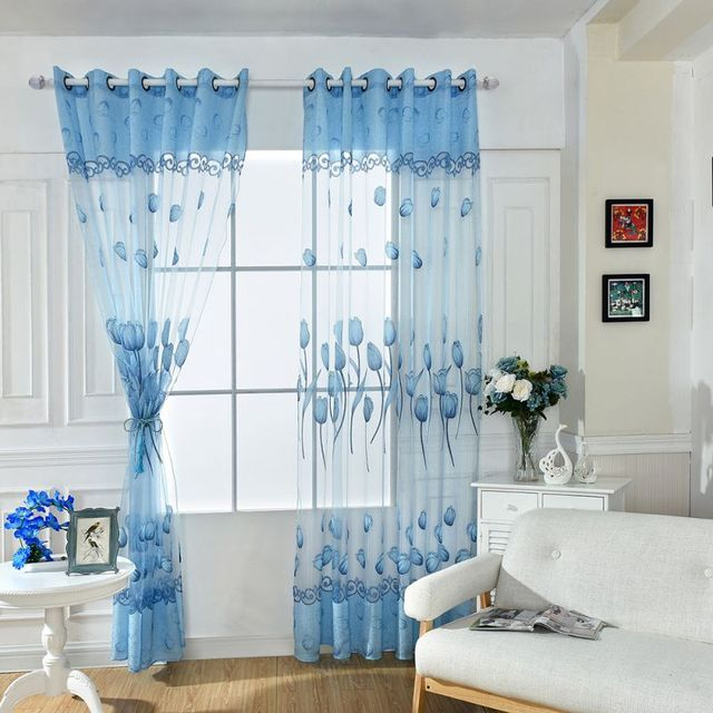 Window Door Room Balcony Panel Floral Tulip Drapes Scarf Valance Sheers Curtains for home & Window Door Room Balcony Panel Floral Tulip Drapes Scarf Valance ...