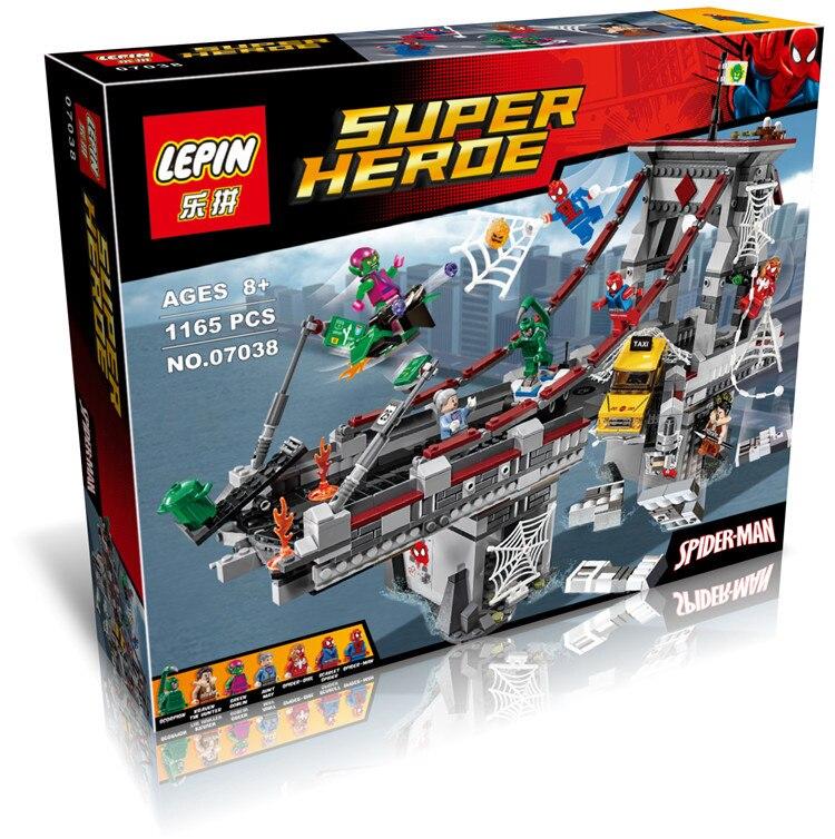 07038 Super Heroes Spider Man Web Warriors Ultimate Bridge Battle Building Blocks Kids Toys mini Marvel Compatible 76057 ultimate comics spider man volume 2