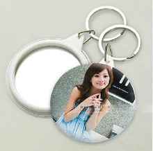 100pcs personalized keychian mirror with bag,round compact engraved,wedding favors gift,customized picture or words