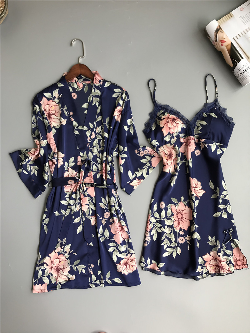 Image 2 - Fresh floral satins silk sexy robe gown sets women bathrobes kimono dressing gown lace silk flower sleepwear women robe suitsRobe & Gown Sets   -