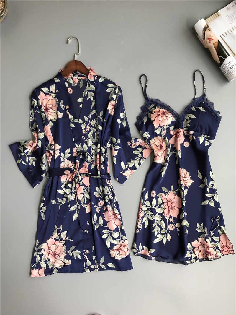 Taze çiçek saten ipek seksi robe elbise setleri kadın bornoz kimono giyinme kıyafeti dantel ipek çiçek pijama kadın elbise takım elbise