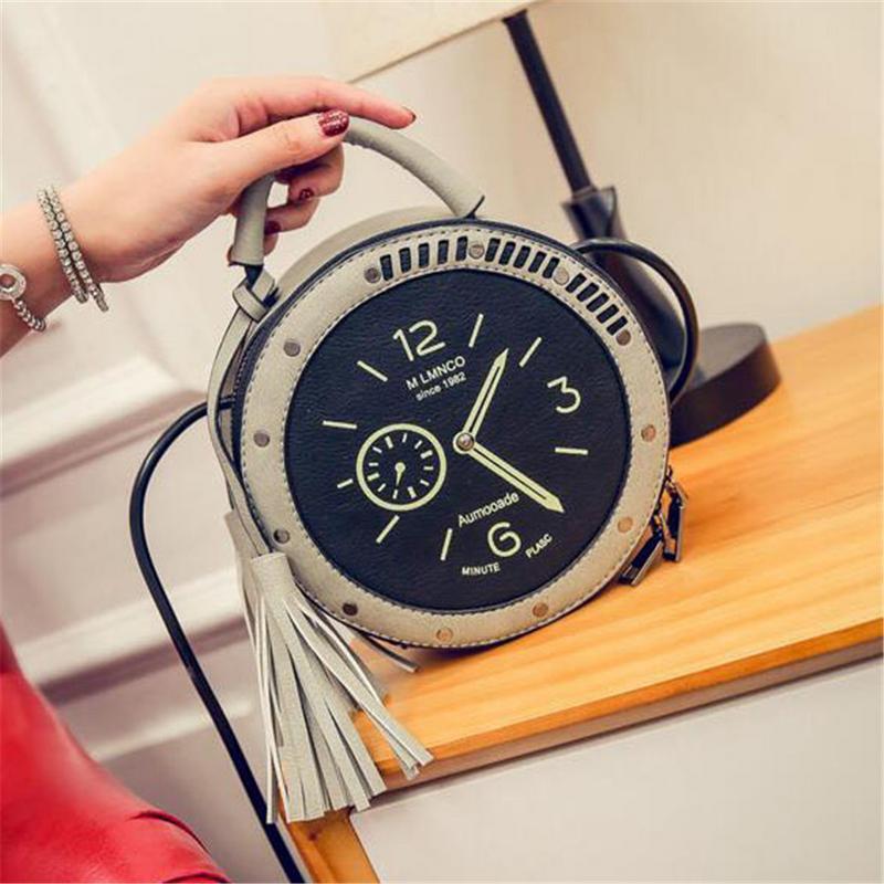 PU Leather Clock Pattern Shoulder Bag Circular Round Messenger Crossbody Hand Tote Bags Fashion Cute Ladies Women Handbags Bag
