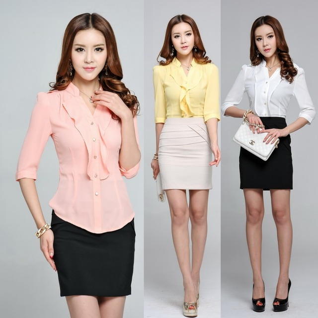 Spring Summer Formal Women Work Blouses with Ruffles Half Sleeve ...