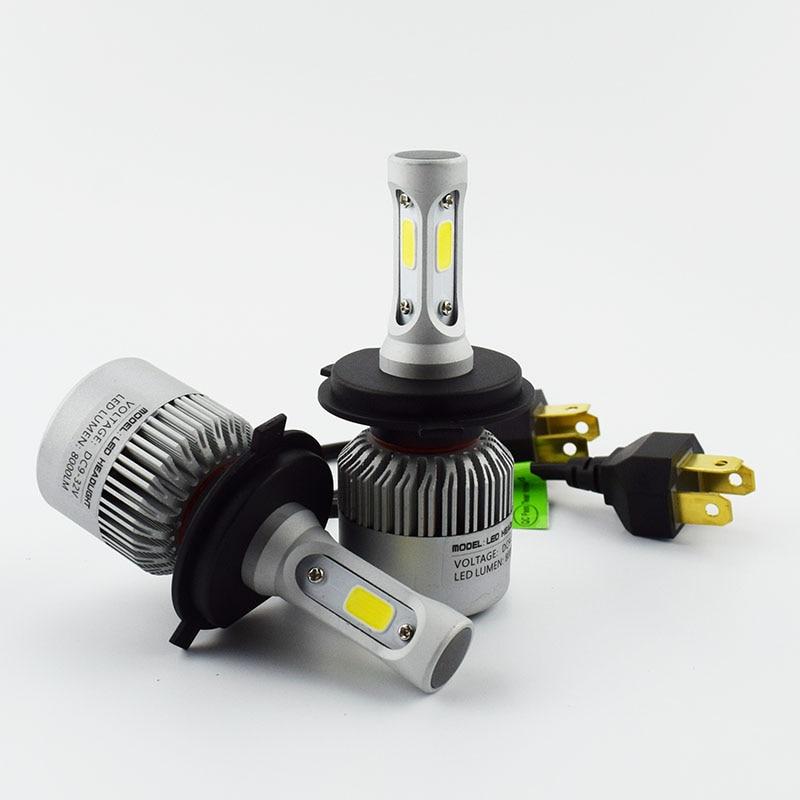 Prix pour 2 PCS De Voiture Phare Ampoule Salut-Lo Faisceau COB LED Phares 72 W 8000LM 6500 K Auto Phare 12 v 24 v brouillard lumière H4 H7 H11 9005 9006 H13