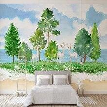 Custom wallpaper mural wall - Nordic minimalist Mediterranean forest elk living room bedroom decorative painting