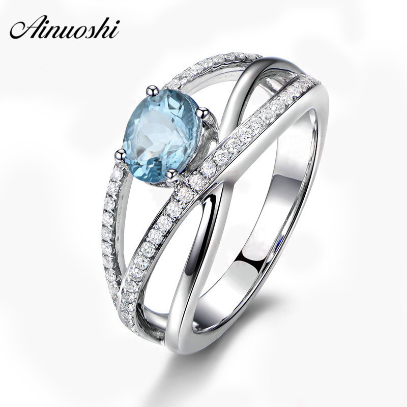 AINUOSHI 0.5 Carat Oval Cut Natural Topaz Twisted Ring Genuine 925 Silver Sky Blue Topaz Weave Ring Trendy Female Jewelry Ring
