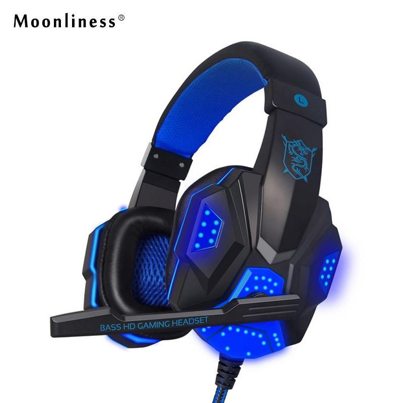 Moonliness NewPC780 LED Flashing Gaming Headphones Wired HIFI Bass Stereo Gaming Headset 3.5MM Headphone with MIC Game Computer ttlife wired deep bass gaming big headset stereo surrounded led light headphone with mic for laptop computer lol game