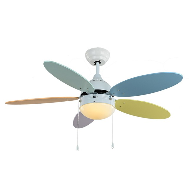 Modern simple multi function electric fan lamp childrens room led modern simple multi function electric fan lamp childrens room led ceiling fan cute color leaf mozeypictures Images
