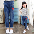 2017 spring and autumn fashion classic children's jeans girls in the big cartoon mouse first wild child pants