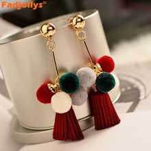 Vintage ball dangle earrings for women accessories Trendy gold color geometric leather tassels long drop earrings for girl gift