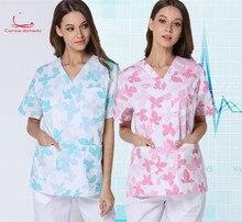 Новый кленовый лист печатных ручная стирка одежды ручная щетка орал костюм медсестра с коротким рукавом