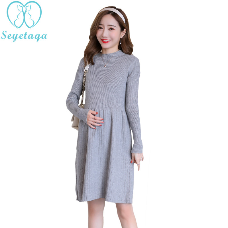 9059# 2018 Autumn Winter Fashion Maternity Sweaters Slim Knitted Loose Dress Clothes for Pregnant Women Thicken Warm Pregnancy grrcosy long maternity knitted sweaters dress for pregnancy autumn winter sexy split bottoming dress for pregnant women