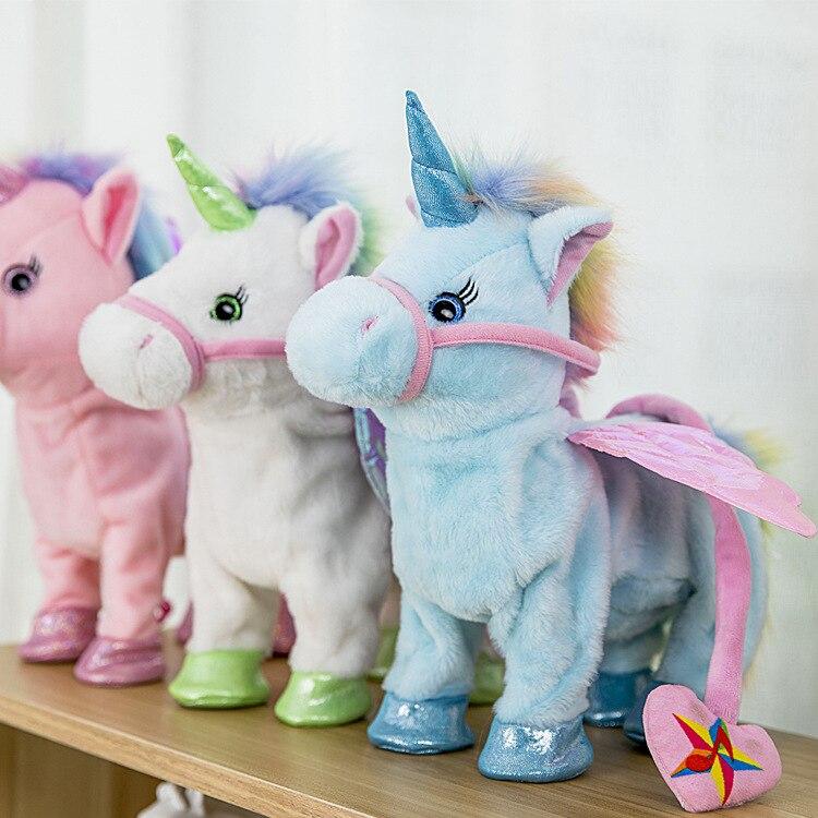 Cantando y caminando unicornio felpa electrónica Robot caballos nuevo regalo de Navidad Electronic felpa juguetes para los niños regalos de cumpleaños 35 cm