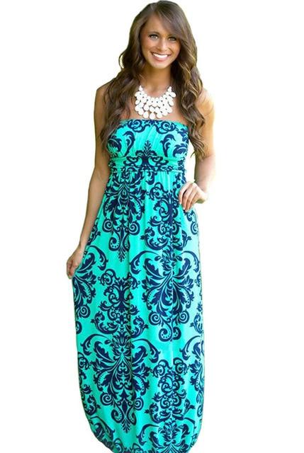 2575d1d934 2018 Summer Women Long Beach Dress Bohemian Sleeveless Floral Printed Sexy  Strapless Boho Maxi Dress Sexy Empire Dress Vestidos