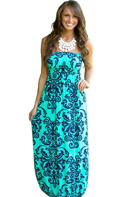 2018 Summer Women Long Beach Dress Bohemian Sleeveless Floral Printed Sexy  Strapless Boho Maxi Dress Sexy Empire Dress Vestidos 2096e7aff8bf