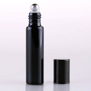 Image 2 - 100 Pieces/Lot 10ML Refillable Black UV Glass Perfume Bottle With Roll On Empty Essential Oil  Vial For Traveler