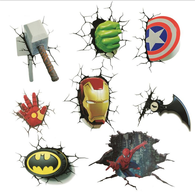 New Arrival Sticker Cartoon Movie Spiderman Captain Super