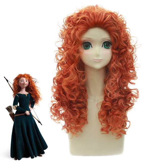 Anime Brave Princess Merida Curly wig Cosplay Costume Mei lida Women  Synthetic Hair Halloween Party Role Play wigs e9798e9d3