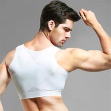 Erkek jinekomasti şekillendirme kontrol göğüsler görünmez yelek şekillendirici geri düzeltici siyah beyaz ince göğüs kanca ayarlanabilir korseler