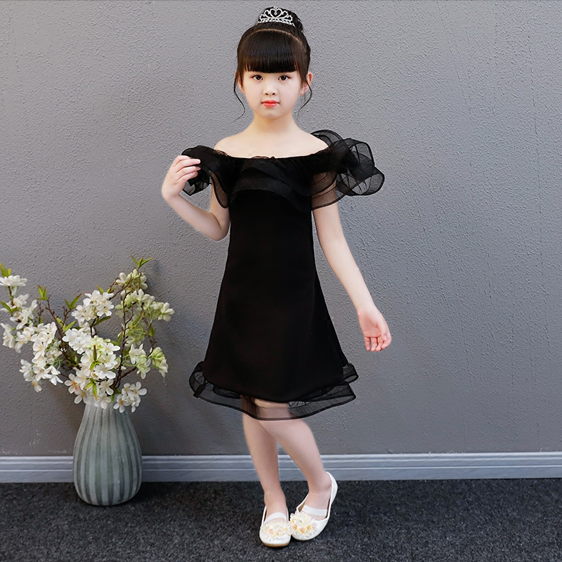 1-12 Years Lace Up Kids Evening Party Dress Black Princess Dress For Girl Off Shoulder Girl's Dresses Girl Birthday Party Gown black off shoulder slit hem midi dress with cut out detail