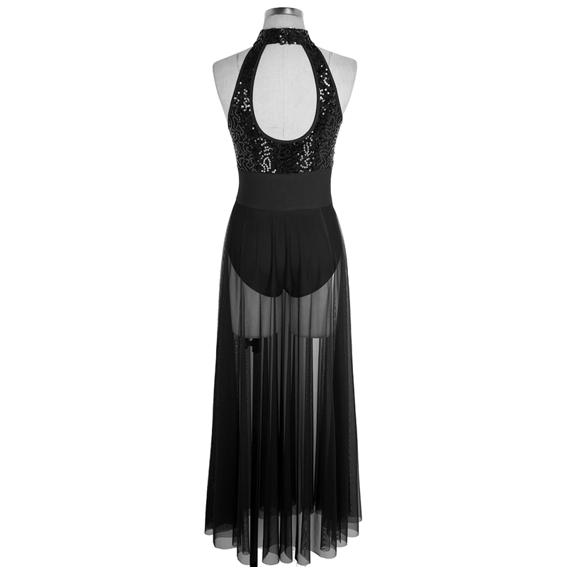 High Quality Halter Sequined Mesh maxi dress for Women Adult Ballet and Lyrical Contemporary Dancing Stage Performance Costumes