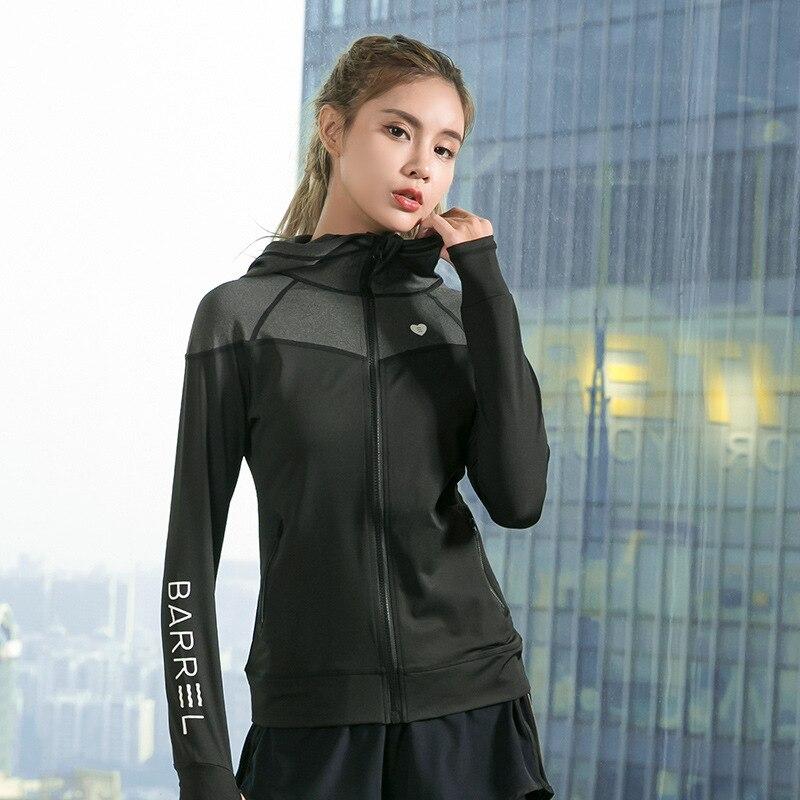 0285fed8ddcfa2 Long Sleeve Sweatshirts with hoodies Women Student Girl Sports Yoga Running  Zipper