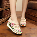 Lotus Leaf Women Embroidery 5cm Pumps Shoes Chinese Style Old Peking Mary Janes Inside Increased Soft Sole Cloth Shoes Woman