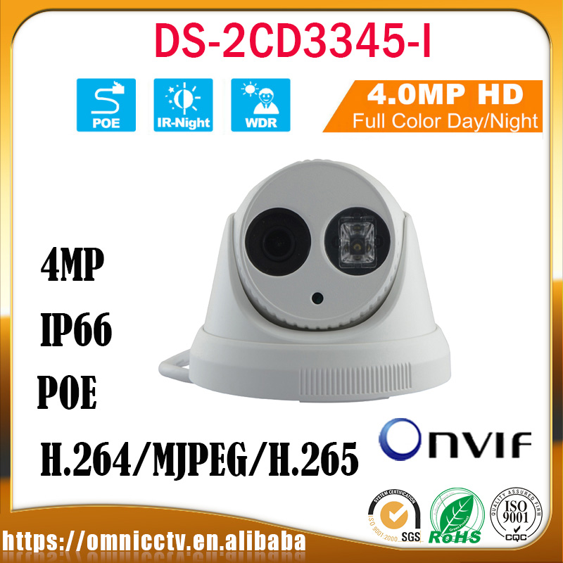 Hikvision 4MP CCTV POE Camera DS-2CD3345-I H.265 IR-Cut 30M ONVIF WDR IP66 Detection Night Vision Dome Surveillance IP Camera newest hik ds 2cd3345 i 1080p full hd 4mp multi language cctv camera poe ipc onvif ip camera replace ds 2cd2432wd i ds 2cd2345 i