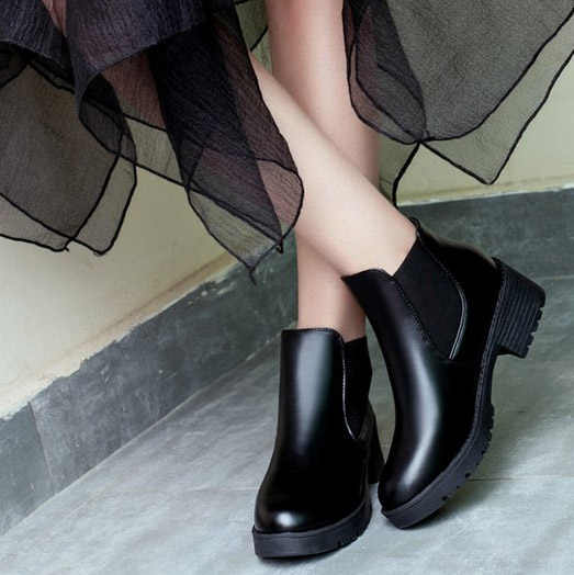 aa8e5114af2 ... Women Chelsea ankle short motorcycle boots block heels platform slip on  round toe fashion work winter ...