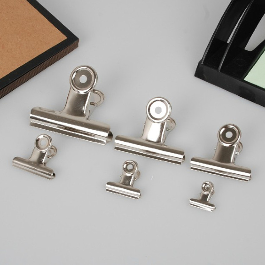 US $10 88 15% OFF|Free Shipping(60pcs/lot) 30mm round metal Grip Clips  silver Bulldog clip Stainless steel ticket clip stationery-in Clips from  Office