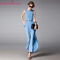 Women asymmetry ruffled jumpsuit summer long sleeveless work office rompers casual beach boho bodysuit Pants overalls E6022