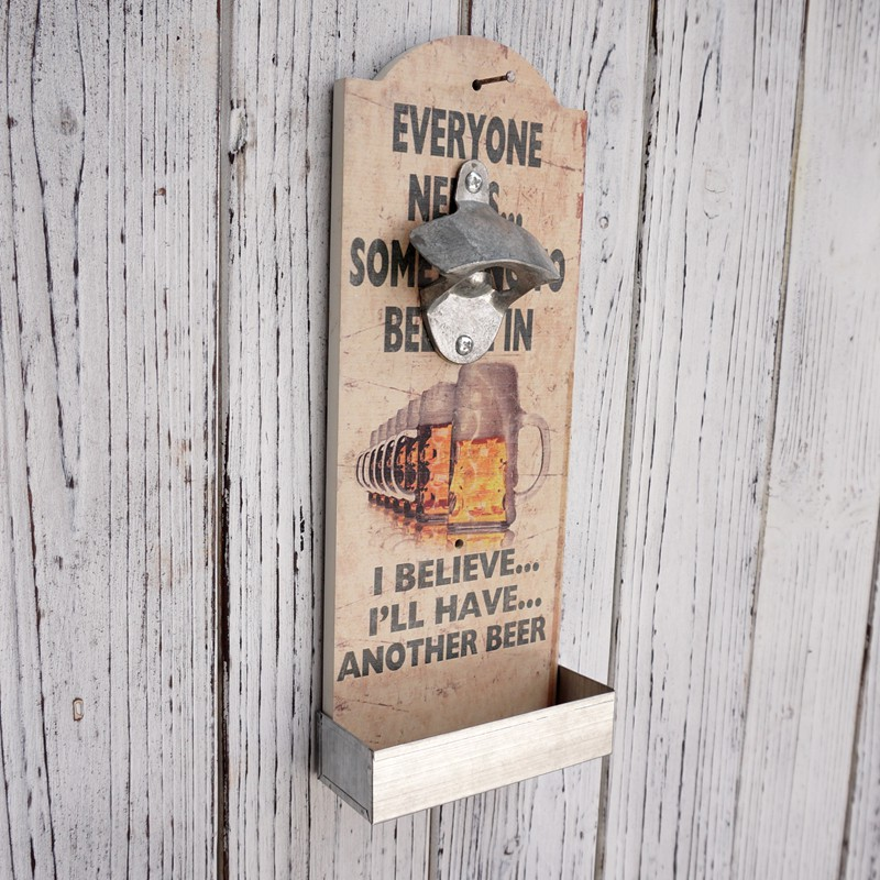 Vintage Shabby Wood Wall Mounted Bottle Opener Man Cave Wall Mount Beer Bottle Opener with Cap Catcher, Bar Tool, 1 Piece